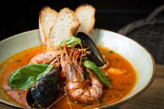 Risotto with mussels, prawns and seafood Royalty Free Stock Photo