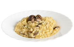 Risotto with porcini mushrooms stock photo