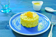 Risotto with pumpkin flowers with saffron Stock Photos