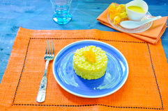 Risotto with pumpkin flowers with saffron Royalty Free Stock Photography