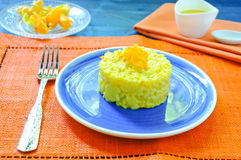Risotto with pumpkin flowers with saffron Stock Photography