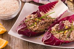 Risotto with red radicchio. Risotto with red radicchio on white dish royalty free stock images