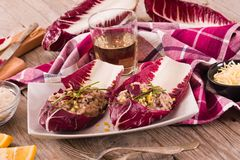 Risotto with red radicchio. stock photo