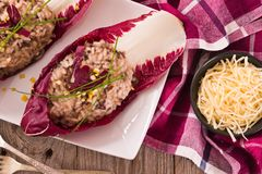 Risotto with red radicchio. royalty free stock images