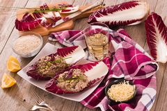 Risotto with red radicchio. Risotto with red radicchio on white dish royalty free stock photos