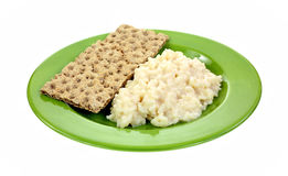 Risotto Rice Cheese Sauce Crispbread Plate Royalty Free Stock Images