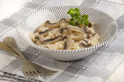 Risotto rice with cooked mushroom Stock Image