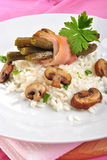 risotto rice with mushroom and bean Royalty Free Stock Image
