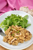 risotto rice with mushroom and salad Royalty Free Stock Images