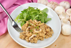 risotto rice with mushroom and salad Royalty Free Stock Photo