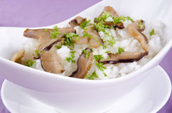 Risotto rice with organic mushrooms Royalty Free Stock Images