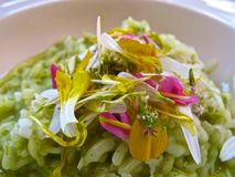 Risotto rice topped with fresh edible flowers. Risotto rice dish topped with fresh edible flowers Stock Photos