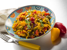 Risotto with saffron and capsicum Stock Photography