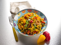 Risotto with saffron and capsicum Royalty Free Stock Image