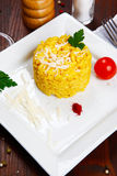Risotto with saffron, risotto alla milanese Royalty Free Stock Photo