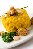 Risotto with saffron and seafood Royalty Free Stock Photo