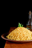 Risotto with Saffron on wooden table Stock Photography