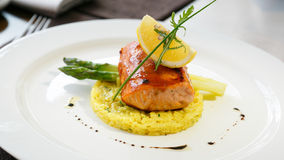 Risotto with salmon. And asparagus Stock Photo