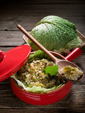 Risotto with savoy cabbage. In red casserole Stock Photos