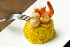 Risotto with  scallops and shrimp Royalty Free Stock Photos