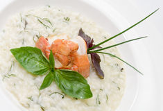 Risotto with scampi and basil Royalty Free Stock Image