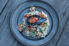 Risotto with seafood. Royalty Free Stock Photo