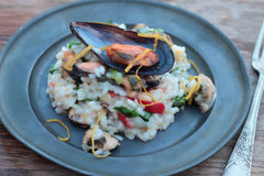 Risotto with seafood. Royalty Free Stock Photos