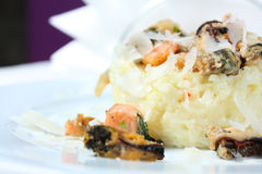 Risotto with seafood. Traditional Italian food Royalty Free Stock Photography