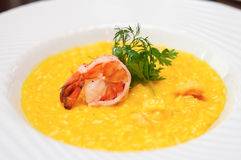 Risotto with shimp on plate Royalty Free Stock Photos