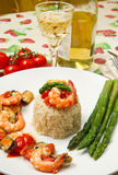 Risotto with shrimp and asparagus Stock Image