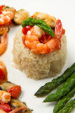 Risotto with shrimp and asparagus Royalty Free Stock Images