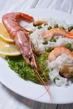 Risotto with shrimp and mussels Royalty Free Stock Images