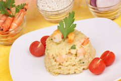 Risotto with shrimps and its ingredients Royalty Free Stock Image