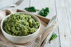 Risotto with spinach cream Stock Photos