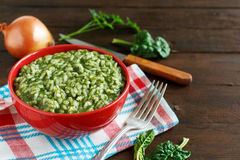 Risotto with spinach cream Stock Image