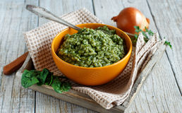 Risotto with spinach cream Royalty Free Stock Image