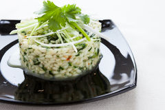 Risotto with spinach on a platter. Closeup Royalty Free Stock Photos