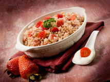 Risotto with strawberries and cream Royalty Free Stock Photos