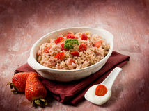 Risotto with strawberries and cream Royalty Free Stock Photo