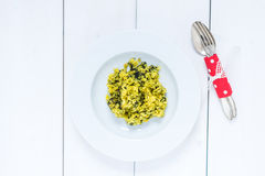Risotto. A typical Italian rice dish with vegetables, risotto Royalty Free Stock Photography