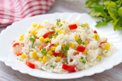 Risotto with vegetables and corn Stock Image
