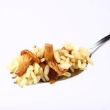 Risotto With Mushrooms On A Fork Royalty Free Stock Photography