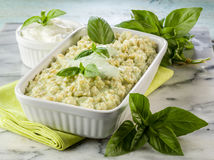 Risotto with yogurt and basil Royalty Free Stock Images