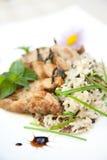 Risotto z wieprzowiny piec na grillu mięsem Obrazy Royalty Free