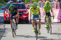 Risoul, Франция 27-ое мая 2016; Группа в составе профессиональный велосипедист вымотанная с Rigoberto Uran и Alejandro Valverde п Стоковые Фотографии RF