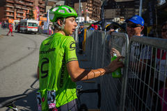 Risoul, France May 27, 2016; Davide Formolo, Cannondale Team, exhausted passes the finish line and meet his fans after a hard moun Stock Photos