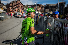 Risoul, France May 27, 2016; Davide Formolo, Cannondale Team, exhausted passes the finish line and meet his fans after a hard moun Royalty Free Stock Images