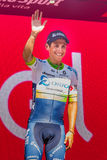 Risoul, France May 27, 2016; Esteban Chaves, Orica team, on the podium after a hard mountain stage Stock Photo