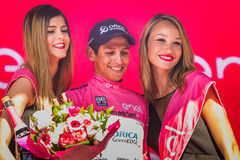 Risoul, France May 27, 2016; Esteban Chaves, Orica team, on the podium after a hard mountain stage Stock Images