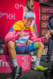 Risoul, France May 27, 2016; Esteban Chaves, Orica team, on the podium after a hard mountain stage Royalty Free Stock Photography